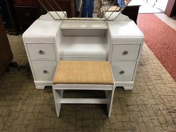 White waterfall vanity with mirror & bench