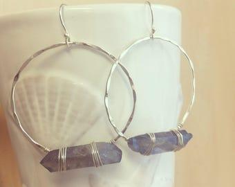 Quartz Hoop Earrings