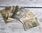 Mixed Set of 8 Vintage Postcards . Vintage Postcard Lot . Couples Postcards . Vintage French and German Postcards .