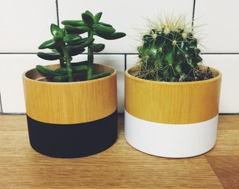 Hand Painted bamboo wooden planters