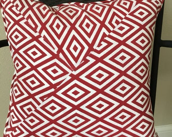 Outdoor Pillow Cover 18 x 18 inch Red White Outdoor Pillow Cover Red White Pillow Cover Red Outside Pillow Cover Red Patio Pillow Cover