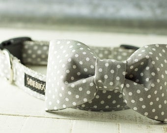 Polka Dot Bow Tie - Gray and White Dog Collar Bow-Tie Accessory