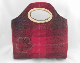 Harris tweed clutch bag in red and brown check