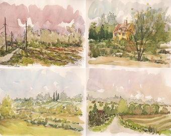 "Lot original glicée prints 4 painting print ""French countryside near Rennes, Brittany""  wall decor print watercolor french wall decor france"