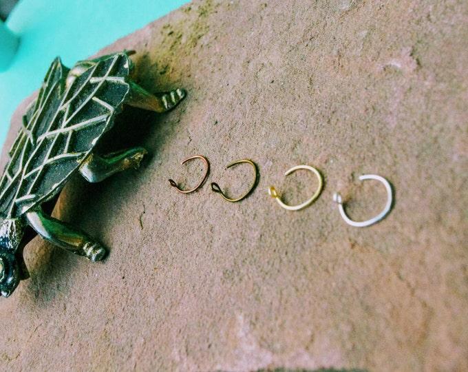 Feminine Nose Ring, Delicate Nose Ring, 24 Gauge, Thin Nose Ring, Silver Nose Ring, Brass Nose Ring, Copper Nose Ring, Gold, Thread Through