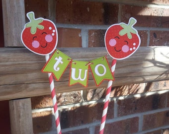 Strawberry Cake Topper, Strawberry Cake Bunting, Cake Smash