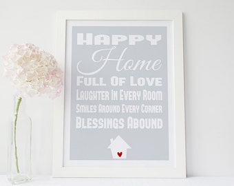 Home wall art - home quote print - family art print - gray home decor- housewarming gift - happy home quote