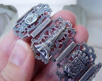 Sale! Was 49.00- Parisian Eiffel Tower Silver Filigree Souvenir Bracelet