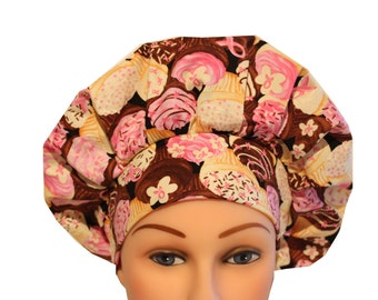 Scrub Cap Surgical Hat Tie Back Bouffant Pink Ribbon Cancer Awareness Cupcake 2nd Item Ships FREE