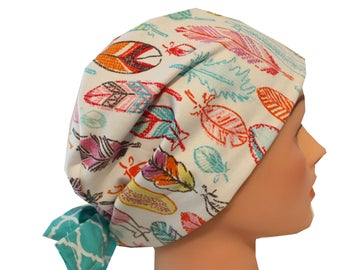 Scrub Hat Surgical Scrub Cap Chemo Vet Nurse Dr Hat European Pixie Style Feathers Pink Teal Orange    2nd Item Ships FREE