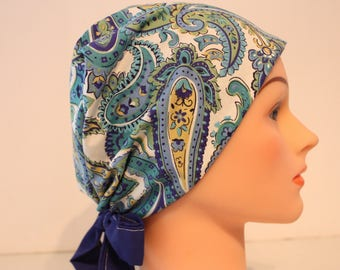 Medical Hat Surgical Scrub Cap Chemo Hat Tie Back / European Pixie Style / Blue Cream Paisley 2nd Item Ships FREE