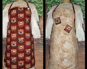 Handmade One of  Kind Womens KITCHEN APRON   CHEF Design  Rich in Color Small Medium