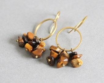 Tiger Eye Earrings Small Hoop Earrings Gemstone Earrings Geometric Dangle Earring Brown Stone Earrings Brass Earrings Beaded Earrings Hoop
