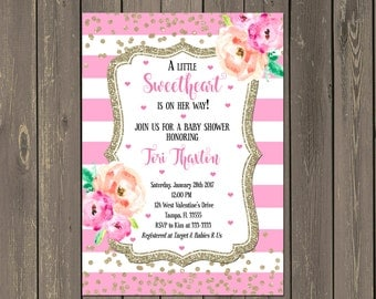 Sweetheart Baby Shower Invitation, Pink Striped Valentines Baby Shower Invite, Gold Glitter Watercolor Baby Shower Invite, diy or printed