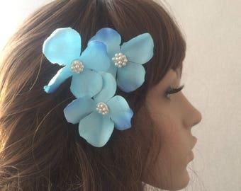 Blue  hydrangea Hair Clips, wedding hair accessories, bridal hair clips, blue rose pins, flower hair clips, flowergirl