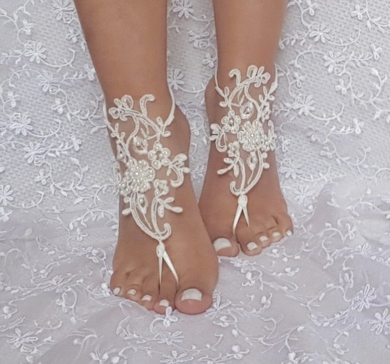 ivory beach wedding barefoot sandal beaded lace barefoot sandal beach wedding bridal barefoot sandals bridesmaid gift elegant