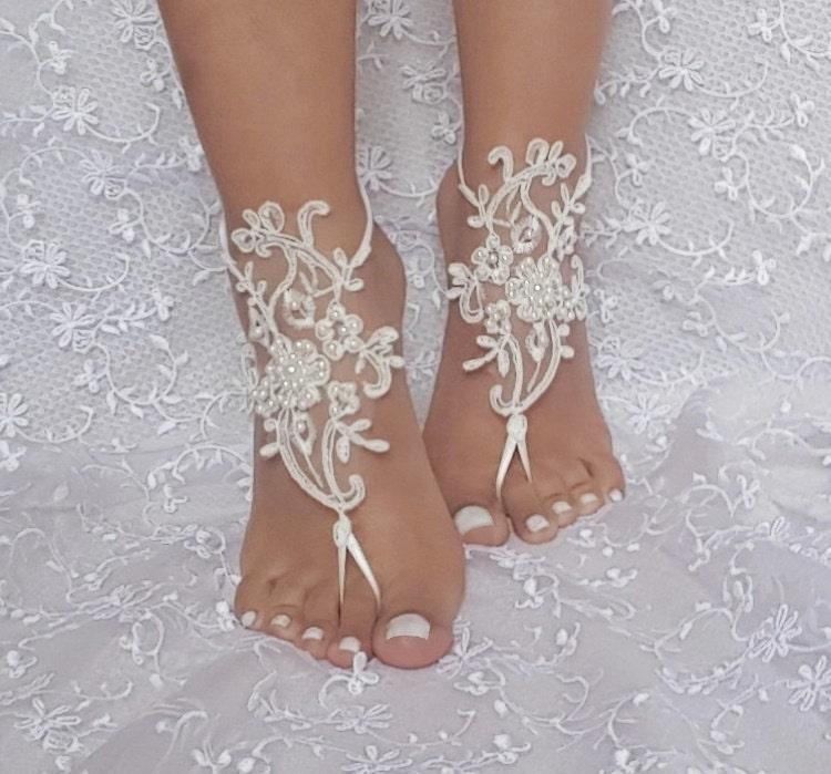 Ivory Beach Wedding Barefoot Sandal Beaded Lace Bridal Sandals Bridesmaid Gift Elegant