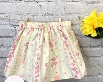 Girls Flowers skirt, Baby Girls Skirt, Toddler Skirt, Baby Skirt, Girls Skirt, Little Girls Skirt, Sizes 6Mo,12Mo,18Mo,24MO,2T, 3T,4T,5T