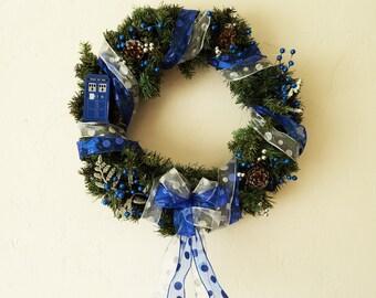 Doctor Who Tardis Christmas Wreath