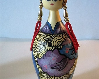 Hand Carved and Hand Painted Javanees Woman Box