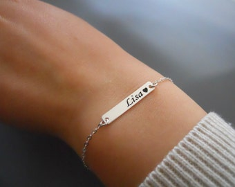 Personalized Silver Bracelet, Dainty Silver Name Bar Bracelet, Laser Engraved Bar Bracelet, Silver Bracelet, Delicate Name Bracelet, #544