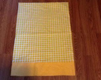 Yellow and white standard size pillowcase
