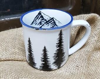 Trees & Mountains Mug 10oz / 280ml - Vintage Enamel Style Stoneware Coffee Mug with a Blue Rim