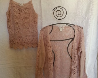 Vintage Newport News knit sweater and spaghetti strap tank Large