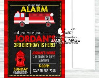 Fire Truck Birthday Invitation, Fire Fighter Birthday Invitation - Digital File or Printed