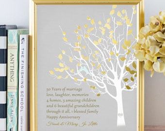 Golden Anniversary Family Tree Print Personalized 50th Anniversary Gift for Parents Customized Keepsake Gift Love Story Faux Gold Gray
