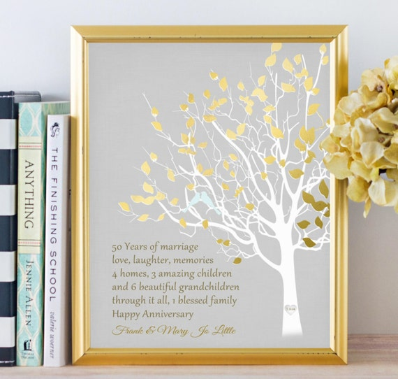 Golden Wedding Anniversary Gift Ideas For Parents: Golden Anniversary Family Tree Print Personalized 50th