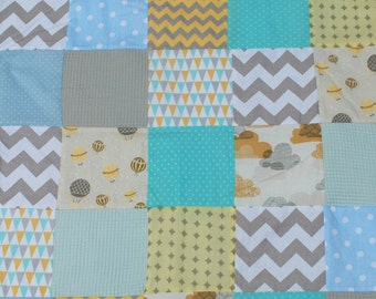 Baby blanket with Yellow and Blue/ Baby quilt blanket/ Baby quilt handmade/ Baby bedding/ Patchwork Blanket/ Nursery bedding/ Crib Bedding