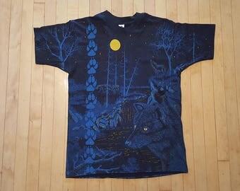 Vintage 1992 WOLF nocturnal T Shirt  Allover print HUGE print