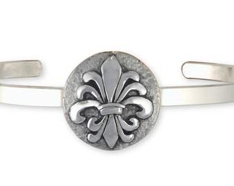 Fleur De Lis Bracelet Jewelry Silver Handmade Flower Bracelet FD20-CB