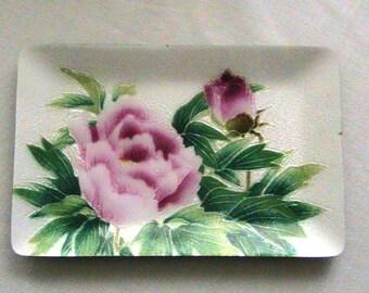Tray, Small Rose tray, Beautiful Enamel Coated Tray/Dish