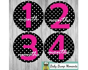 Baby Milestone Month Stickers, Pink Baby Stickers, Polka Dot, Bodysuit Stickers, Photo Prop