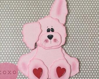 Valentine Rabbit, Paper Piecing, PreMade Die Cut, Pink Bunny, Love, Heart, Valentine's Day, Easter