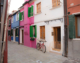Borono, Italy, Venice Photography, Travel Photography, Red Bicycle, Colored Houses