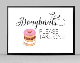 Doughnuts Please Take One Print, Dessert Bar - Instant Download, DIY Print File 8x10, Landscape