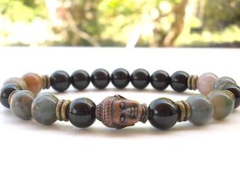 Onyx, Agate Buddha bracelet~ Buddha bracelet~Onyx bracelet~Indian Agate bracelet~Gemstone stretch bracelet~Stackable Buddha bracelet~ Unisex