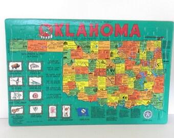 "Vintage State Puzzle, Oklahoma,1989, 20"" x 13"""
