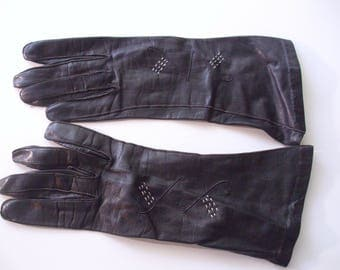 Pair Vintage Gloves,  Black Leather Gloves, Black Gloves, Ladies Gloves, Ladies Leather Gloves, Dress Gloves, Costume Accessory,
