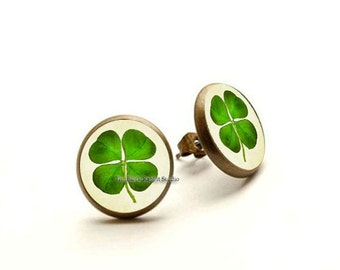 Four leaf Clover jewelry, Lucky clover leaf earrings, good luck jewelry, shamrock earrings, clover earrings, saint patrick's day jewelry