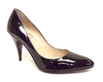 Vintage New DELMAN Size 5.5 Black Patent Heels Pumps Shoes 5 1/2