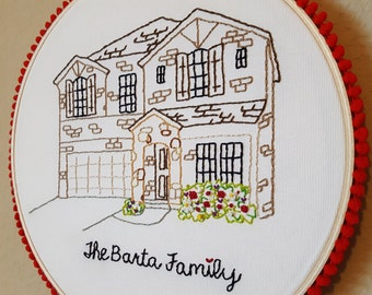Handmade Embroidered House Art, Custom Design, Housewarming, Real Estate Closing Gift