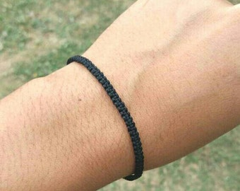 Super Thin 0.3 cm Thai Buddhist Monk Blessed Braided Cotton Wristband Bracelet  Friendship Fair Trade Handmade adjustable Black