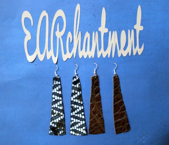 Small Leather strip - Dangle Earring - Drop earring - Variety Sample Pack - 2 Pair leather strip earrings _ WISE WOMAN