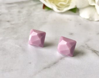 Mauve Lilac Lavender Light Purple Faceted Square Gem Resin Post Earrings. Nickel Free. Made by Hand in Australia. For Sensitive Ears.