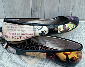 Sleepy Hollow Flats Headless Horseman Shoes Halloween Flats Gothic Flats Book Wedding Shoes Literature Shoes Book Lover Gift Book Flats