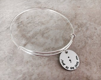 And so she goes on bracelet personalized bangle bracelet my story isn't over yet personalized bracelet semicolon bracelet with name charm